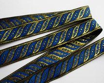 3 yards SLANTED LEAVES Jacquard trim in Royal blue, gold, on black. 1 inch wide. 187-K