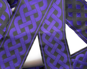3 yards CELTIC RUNNING KNOT Jacquard trim in purple on black. 2 inch wide. 501-g
