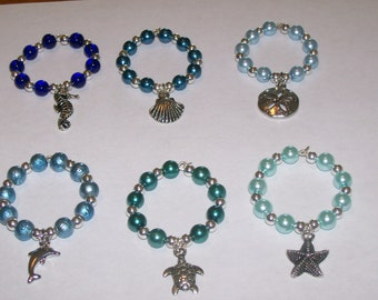 6 Shades of Blue Beach Wine Glass Charms