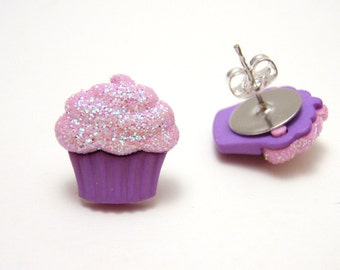 Purple Glitter Cupcake Studs - Hypoallergenic nickel free cute lavendar dessert earrings with light pink glittery frosting - Super Kawaii