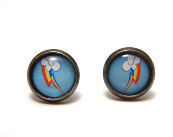 Rainbow Dash Studs - My Little Pony Friendship is Magic Cutie Mark post earrings - SMALL 10mm - MLP FIM Geekery Geek Chic
