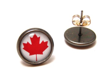 Canadian Flag Studs - Red and white Maple Leaf Canada day themed earrings on SMALL 10mm circular gunmetal posts - Patriotic