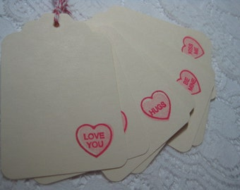 Handmade Conversation Heart Gift Tags - Stamped - Valentine's Day