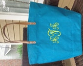 Teal / Peacock BlueMonogrammed / Personalized Large Jute Tote Bag