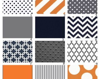 Custom Crib Bedding-3 piece-Navy, Grey and Orange