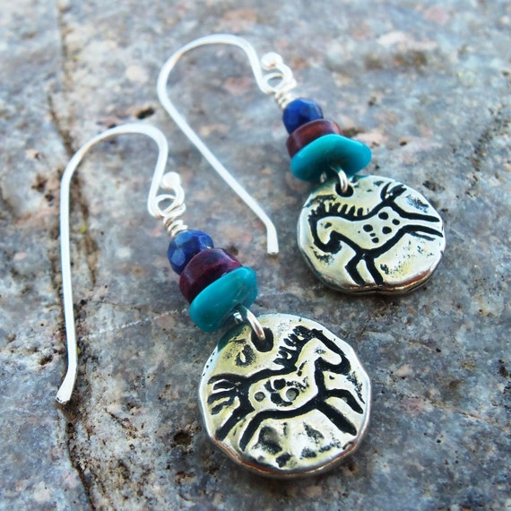 Fine Pewter HORSE Earrings - Gemstone Earrings - Lapis and Turquoise Earrings - Cowgirl Jewelry - Horse Lover Earrings  - Western Jewelry
