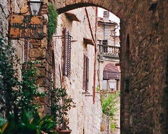 Italy Photography, Landscape Photo, San Gimignano, Tuscany, Brown And Beige, Fine Art, Street Photograph, Walled City, 5 x 7  Print