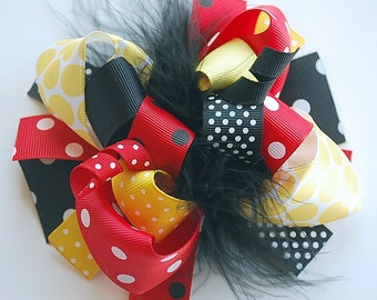 boutique FUNKY fun MICKEY and MINNIE hair bow clip