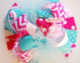 boutique FUNKY fun hot PINK and TURQUOISE chevron hair bow clip