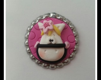 Pony with Pink Background Polymer Clay Bottle Cap Bead, Scrapbooking, Bow Center, Pendant, Cupcake topper, Magnet