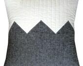 Modern Decorative Pillow - Big Grey Zig - Linen Blend