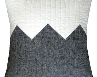 Modern Decorative Pillow - Big Grey Zig - Linen Blend