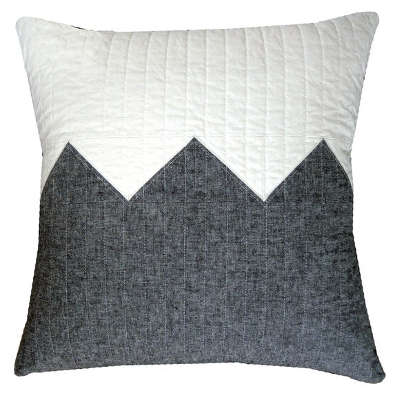 Modern Decorative Pillow Big Grey Zig Linen Blend