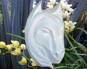 White Stallion Traveler Horse Head Wall Sculpture