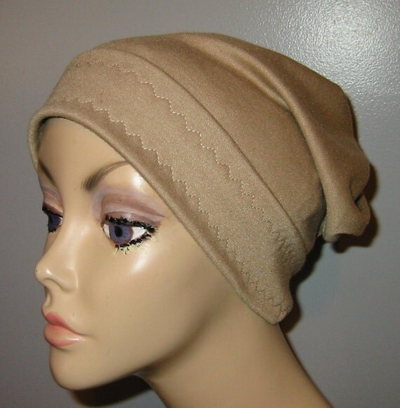 Camel Slouch Chemo Cap, Cancer Hat, Alopecia, Modest Hat,