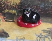 Cat Art, Sculpture, Black Cat, Miniature Cat, Gift for Her, cat in a red bed.