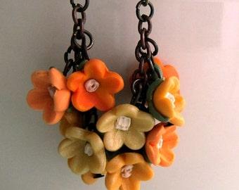 Yellow Flower Dangle Earrings - Handmade Polymer Clay Flower Earrings - Summer Flower Earrings - Yellow Cherry Blossom Earrings