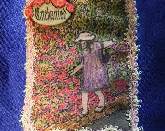 Tiny Art Quilt ATC Little Girl in an Enchanted Garden