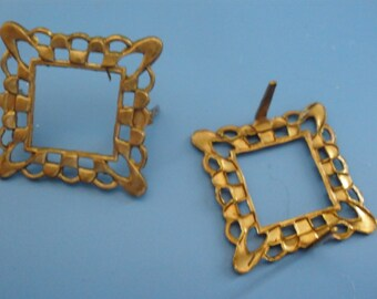 Vintage Brass Patina Frames Filigree (4)(19mm) Beads Connectors Scrapbooking
