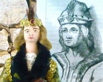 Doll Miniature King Robert ll of Scotland Historical Art Collectible