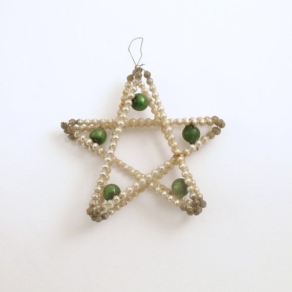 Vintage Czech Glass Bead Star Christmas Ornament By Efinegifts