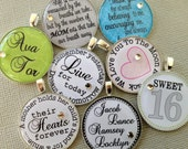 Add on an accent pendant to any ButtonIt item previously purchased - inspirational quote, children's names, sweet 16, sports team logo