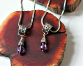 adinkra symbol silver reversible necklace with amethyst