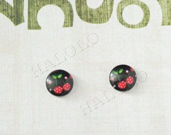 Sale - 10pcs handmade cherry on black round clear glass dome cabochons 12mm (12-0798)