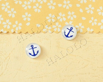 Sale - 10 pcs handmade blue anchor glass cabochons 12mm (12-0806)