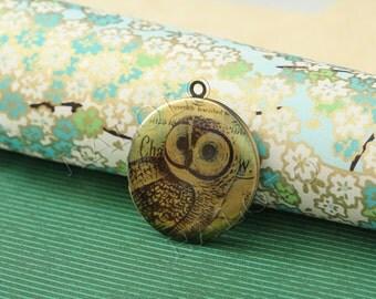 1pc owl round antique bronze locket 32mm (LD006)