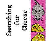 Peyote Bracelet Pattern Instant Download Cute Mouse with Cheese Delica Seed Bead 2 Drop Peyote Stitch Digital PDF File