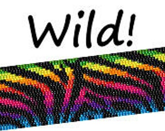 Peyote Pattern Rainbow Zebra Print Beaded Cuff Bracelet Bead Pattern Digital PDF Pattern 2 Drop Peyote