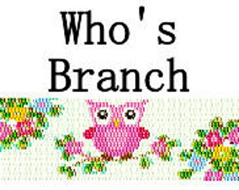 Peyote Pattern Cute Owl on Flowery Branch Beaded Cuff Bracelet Delica Seed Bead Pattern PDF 2 Drop Peyote Stitch