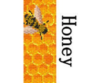 Peyote Bracelet Pattern Honey Bee Mine Bumble Bee Nature Insect Jewelry Cuff Bracelet Digital PDF File 2 Drop Peyote Stitch