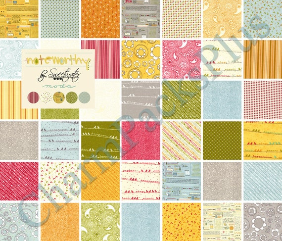 NOTEWORTHY by Sweetwater - Moda Fabric Charm Pack - Five Inch Quilt Squares Quilting Material
