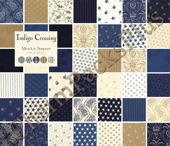Indigo Crossing Moda Fabric Charm Pack Five Inch Quilt
