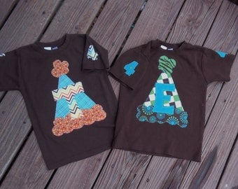 Boys Custom Birthday T-shirt with number or initial   SIZES  12, 18, 24mth, 2T, 4, 6  ABC or 123 party