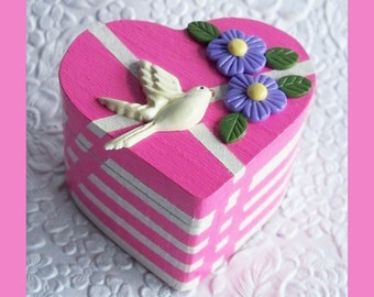 Heart Trinket Box Fuchsia, Valentines Day, Jewelry Holder, Jewelry Box, Heart Shaped  Box, Earring Box, Ring Box, Unique Gift