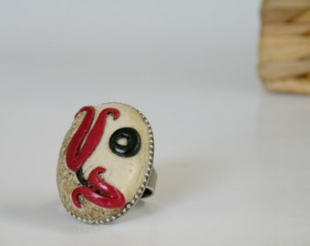 Adjustable Antique Finish Oval Ivory Ring with An Ottoman Style Tulip