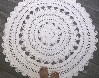 "White Cotton Crochet Rug 41"", 104.14cm Circle Non Skid"