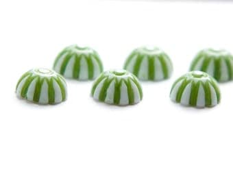 Vintage Green and White Domed Cabochons 8mm (12) cab408E
