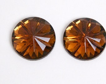 Vintage Topaz Faceted Glass Cabochons 15mm cab188B
