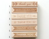NEW Wholesale Package Special, Modern Thank You Rubber Stamps, 12 Pack (Wood Mounted) Original Typographic Design, Small Business, Holidays