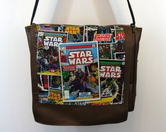 Star Wars Comic Covers Leather Messenger Bag - Original Movie Cast - Luke Skywalker, Hans Solo, Princess Leia, R2D2, C3PO