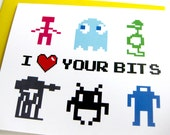 Video Game 80s Geek Love Card // I Love Your Bits