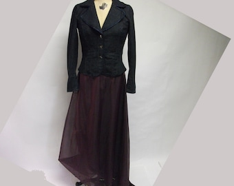 SALE Plum Mixed Media Maxi Skirt with train