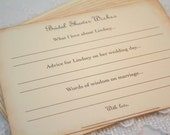Bridal Shower Advice Cards and Wish Cards Bride to Be