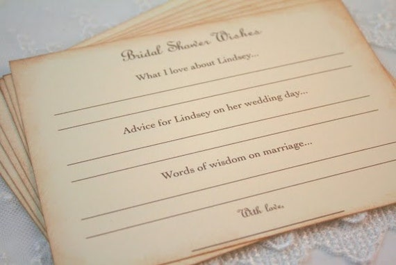 bridal shower advice cards and wish cards bride to be set of 10