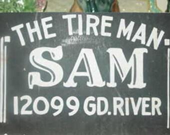 Cardboard Sign Sam The Tire Man