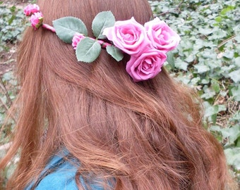 Pink Roses Headdress/Festival Headdress/Pink Flower Fairy/Pink Roses